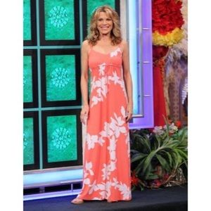 NEW Tommy Bahama coral floral maxi dress